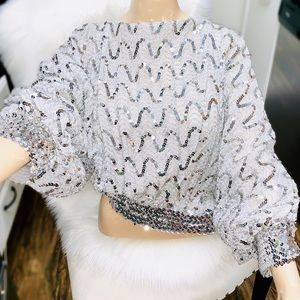 Tops - Vintage Silver Slouchy Disco Blouse